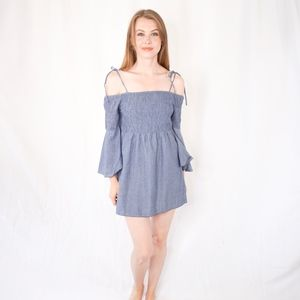 Tularosa Blue Chambray Bell Smocked Mini Dress 436